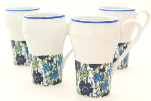 60s 70s vintage coffee mugs, tall latte cups w/ blue & green retro flowers