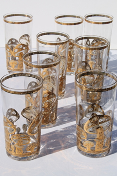 acbd007cafbe 60s 70s vintage Culver glasses w  retro gold mushrooms