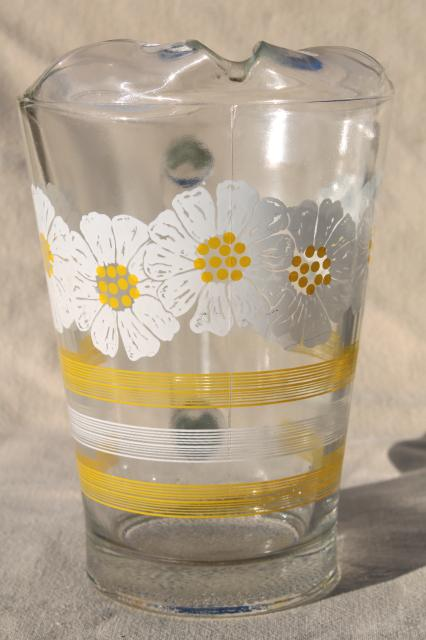 60s 70s vintage glass pitcher w/ daisies, yellow & white striped bands & flowers