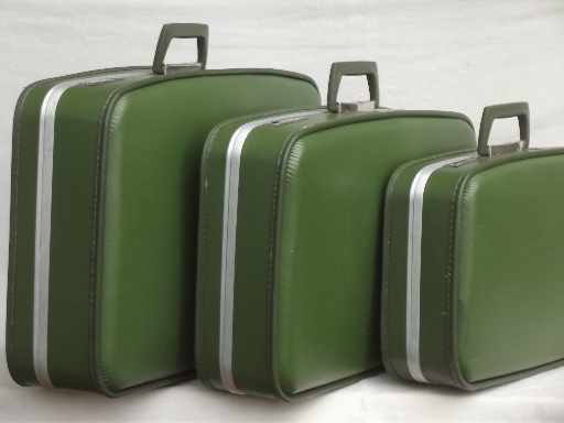 70s vintage luggage set, avocado green suitcases & satchel carry ...