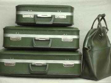 60s 70s vintage luggage set, avocado green suitcases & satchel carry on bag