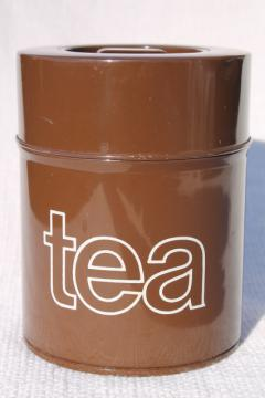 60s 70s vintage metal tea tin canister, retro mod graphic art typography