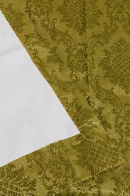 60s 70s vintage olive green brocade drapes, vinyl backed fabric drapery panels set