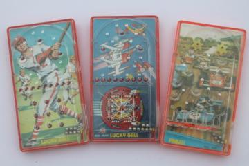 60s 70s vintage pinball, travel or pocket size plastic pinball games