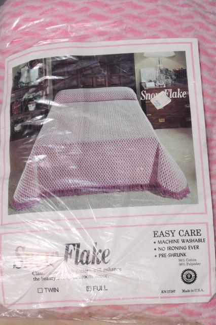 60s 70s vintage pink & white chenille bedspread mint in package, full double poly cotton spread
