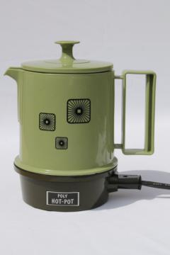 60s 70s vintage Poly hot pot, retro green plastic electric kettle for hot water / tea