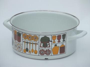 60s 70s vintage print enamelware pot, retro danish modern enamel stockpot