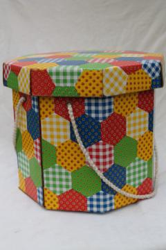 60s 70s vintage sewing box, retro hexies patchwork print hat box w/ notions tray