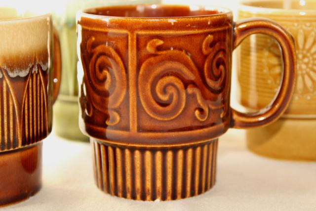 60s 70s Vintage Stacking Stackable Ceramic Coffee Cups Set Of
