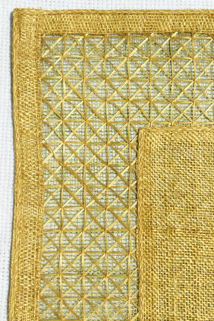 60s 70s vintage table placemats, retro colors, natural burlap / hemp grass cloth textured fabric