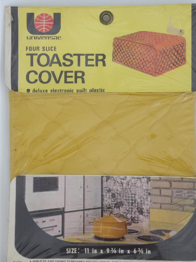 60s 70s vintage toaster covers, mint in package quilted plastic appliance covers