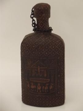 60s 70s vintage tooled leather liquor decanter bottle, Grenada Spain