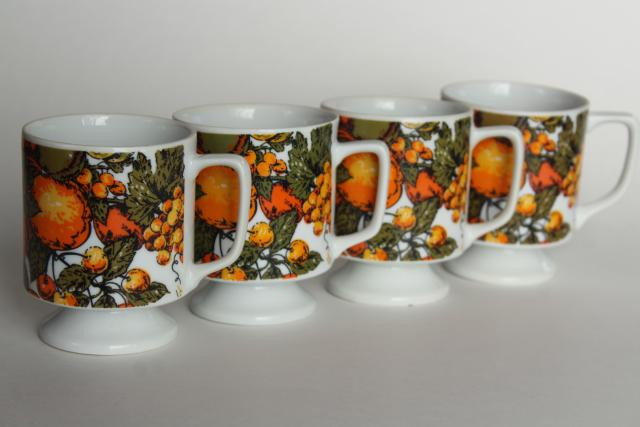 60s 70s vintage wire mug rack stand w/ retro fruit print coffee cups