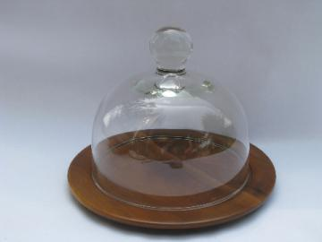 60s danish modern vintage walnut cheese plate server w/ glass dome