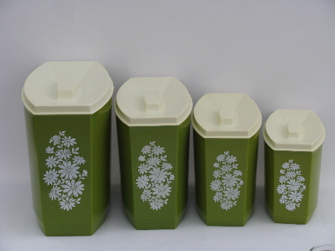 60s Green / White Flowers, Vintage Plastic Kitchen Canisters, Retro Canister  Jar Set