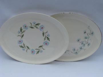 60s hippie vintage pottery platters, smile face daisies, wildflowers