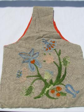 60s hippie vintage tote bag purse, crewel wool embroidery on flax linen