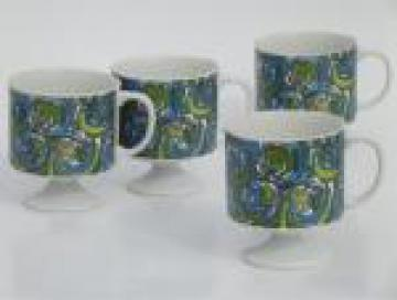 60s mod blue & green coffee mugs, vintage Holt Howard china cups dated 1968