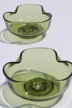 60s mod pinch shape glass candleholders, vintage avocado green glass candle bowls