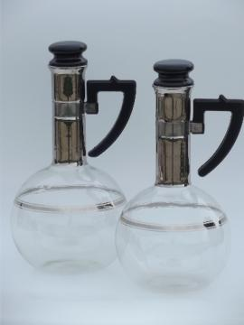 60s mod silver band coffee pitchers set, Inland glass carafe bottles