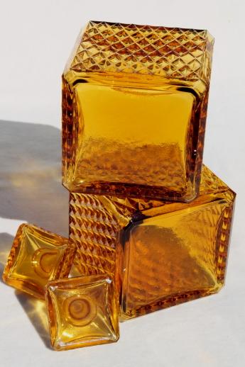 60s Mod Square Amber Glass Decanter Bottles For Vintage Travel Bar Drinks Set