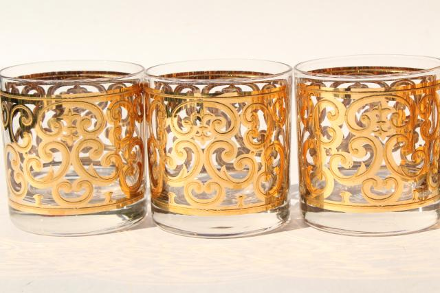 60s mod vintage Briard Spanish Gold scrolls old fashioned glasses, lowball tumblers