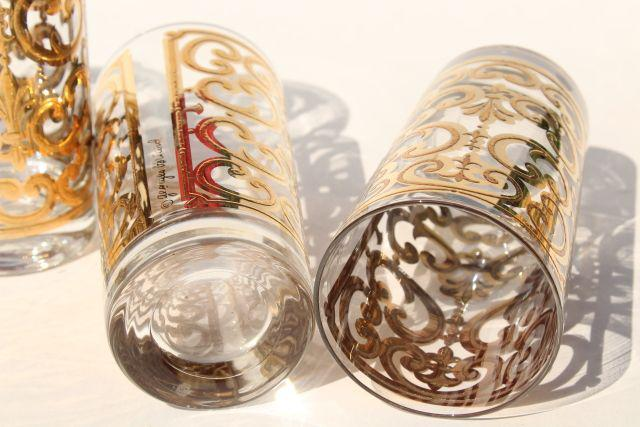 60s mod vintage Georges Briard Spanish Gold scrolls highball glasses, retro tumblers set
