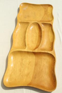60s mod vintage blond wood serving tray, huge divided bowl for cocktail party snacks