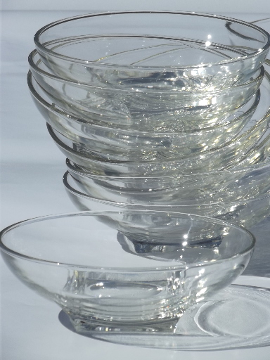 60s mod vintage glass salad bowl set, Hazel Atlas square base round bowls