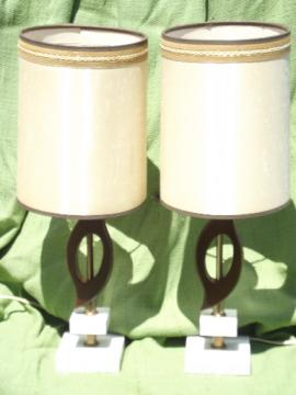 60s mod walnut wood lamps w/ stacked square marble bases, vintage Italy