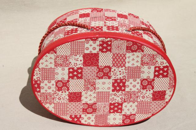 60s or 70s vintage red & white patchwork print oval hat box sewing basket