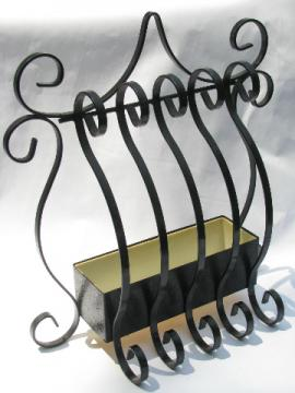 60s Paris chic black iron window grille wall box flower or ivy planter