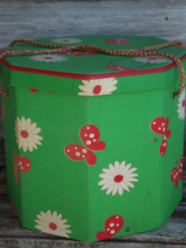 60s preppy vintage daisies & butterflies print hat or wig box, sewing box