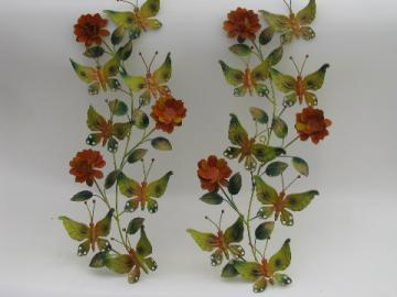60s retro metal art wall plaques, orange flowers and bright butterflies
