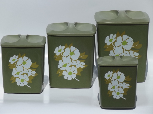 60s retro plastic canisters white flowers on avocado for 60s kitchen set