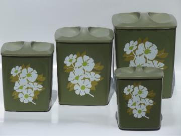 60s retro plastic canisters, white flowers on avocado green canister set