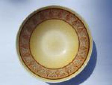 60s retro pottery salad vegetable bowl, gold w/ tribal pattern border