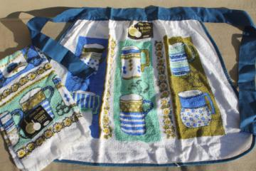 60s retro vintage terrycloth towel dishcloth & apron set, coffee cups or tea mugs print