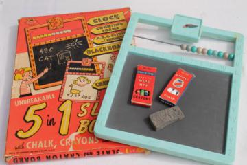 60s vintage 5 in 1 slate board toy for chalkboard / crayon drawing, counting beads