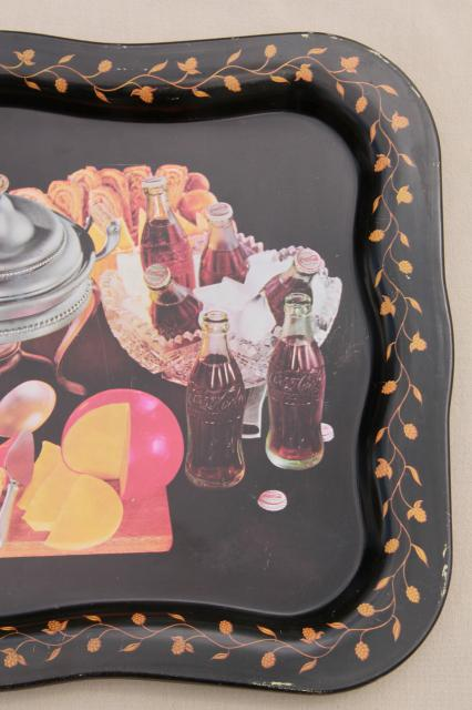 60s vintage Coca Cola trays w/ old glass Coke bottles in mod meal