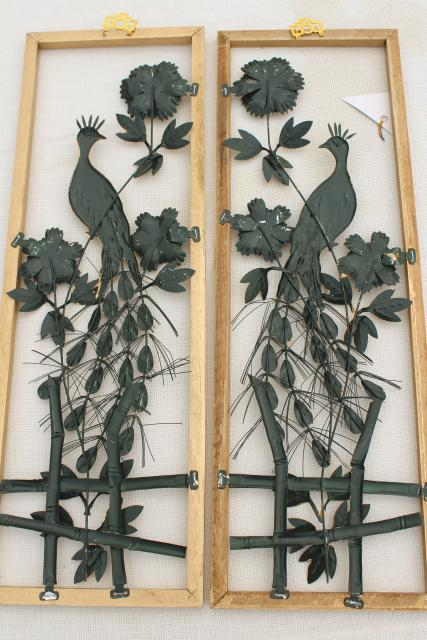 60s vintage Decorama metal peacocks wall art hangings w/ wood frames, bohemian retro!