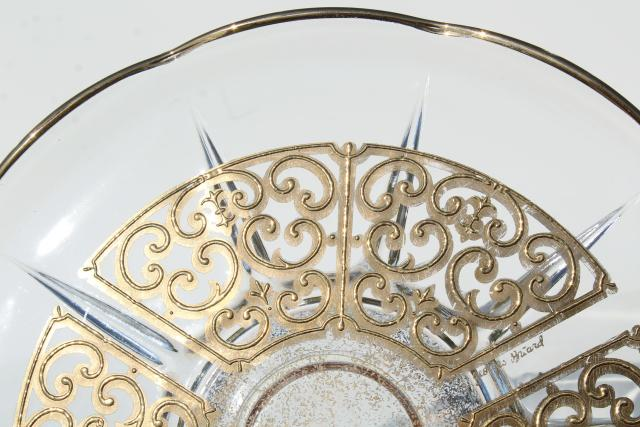 60s vintage Georges Briard Spanish gold lace pattern glass cake stand, mid-century mod