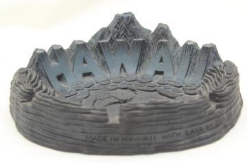 60s vintage Hawaii black lava ashtray, Coco Joe Hawaiian souvenir kitsch
