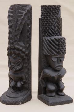 60s vintage Hawaiian black lava tiki totem statues, Coco Joe Hawaii