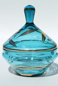 60s vintage Italian art glass, Empoli glass apothecary jar candy dish blue w/ gold