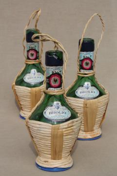 60s vintage Italian glass wine bottles, mini basket wrapped bottle lot