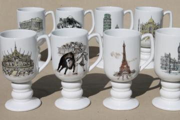 60s vintage Kaysons - Japan ceramic mugs, tall footed coffee cups w/ world travel landmarks