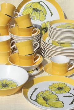 60s vintage Mikasa duet Duplex china dinnerware set, mod yellow poppy black line drawing