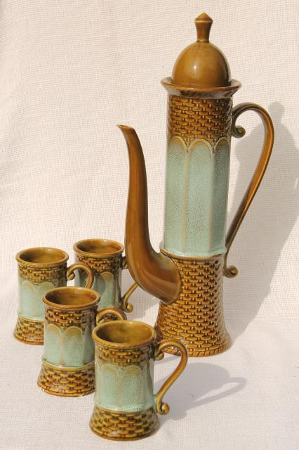 60s vintage Norcrest Japan mod ceramic coffee set, tall skinny coffeepot & mugs