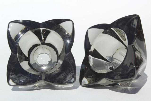 60s vintage Viking glass candle holders, mod smoke grey starburst candlesticks